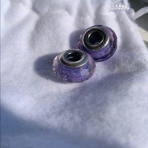 (4/$25) Pandora Purple Glass Charm (SINGLE charm)